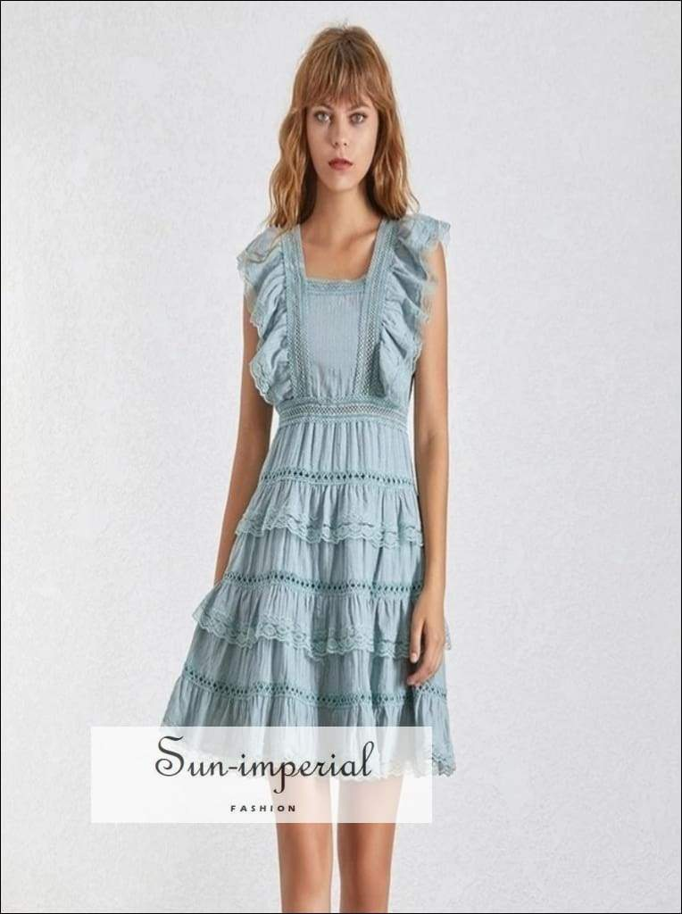 Lora Dress - Elegant Solid Women Square Collar Sleeveless High Waist Ruffles Slim Mini Elegant, Sleeveless, Dresses, Collar, vintage