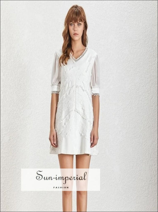 Lorelei Dress - white short sleeve mini dress lace Patchwork V Neck Lantern Sleeve Mini Dresses Patchwork Women Dress V Neck vintage
