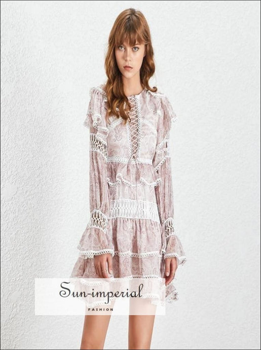 Los Angeles Dress -white Vintage Lace Sheer Women Mini A-line Ruffles Flare Long Sleeve Dress