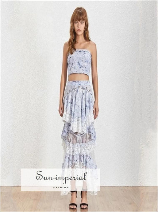 Lucca Skirt Set - Floral Print Two Piece Tube Crop top High Waist Sequin Asymmetrical Maxi Waist, Off Shoulder, Patchwork Irregular Skirt,