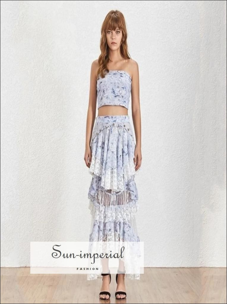 Lucca Skirt set - Floral Print Two Piece Set tube Crop Top High Waist Sequin asymmetrical maxi Skirt High Waist Off Shoulder Patchwork