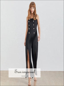 Lucille Jumpsuit - Sleeveless Women Jumpsuit High Waist Buttoned Split Wide Leg romper Off Shoulder Sleeveless vintage Wide Leg Pants Women