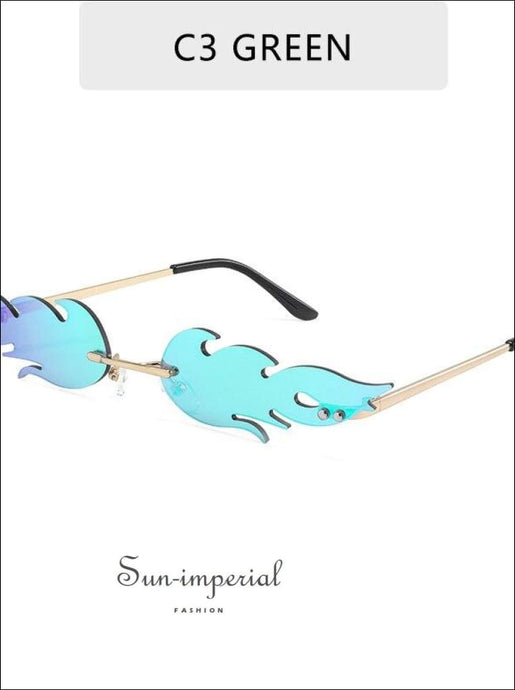 Luxury Fashion fire Flame Women Sunglasses - Teal