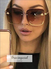 Luxury Square Bee Sunglasses Women Vintage Metal Frame Oversized Sun Glasses Female Gradient Shades SUN-IMPERIAL United States