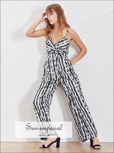 Madison Jumpsuit - Sleeveless Zebra Striped Women High Waist Wide Leg Off Shoulde, Sleeveless, Jumpsuit, vintage, Pants SUN-IMPERIAL United