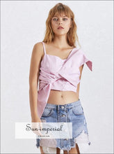 Madisyn top - Crop top Blouse Women Skew Collar Bow off Shoulder Sleeveless Striped Shirt top Female