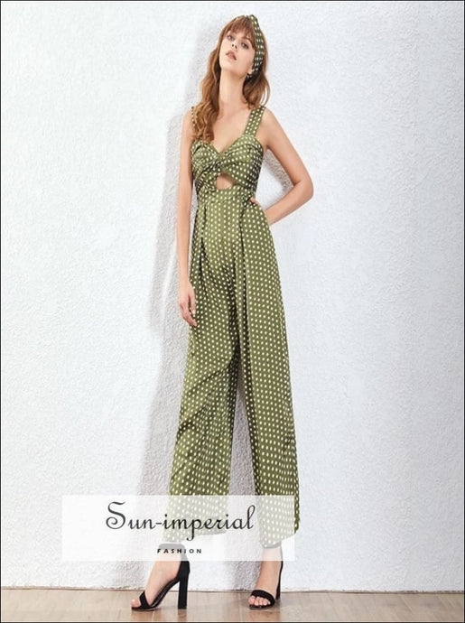 Maggie jumpsuit - Red and green Women vintage Wide Leg Polka Dot Jumpsuit Sleeveless High Waist Polka Dot Sleeveless vintage Wide Leg Pants