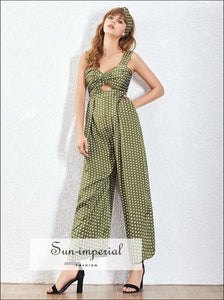 Maggie Jumpsuit - Red and Green Women Vintage Wide Leg Polka Dot Sleeveless High Waist Dot, Sleeveless, vintage, Pants, SUN-IMPERIAL United