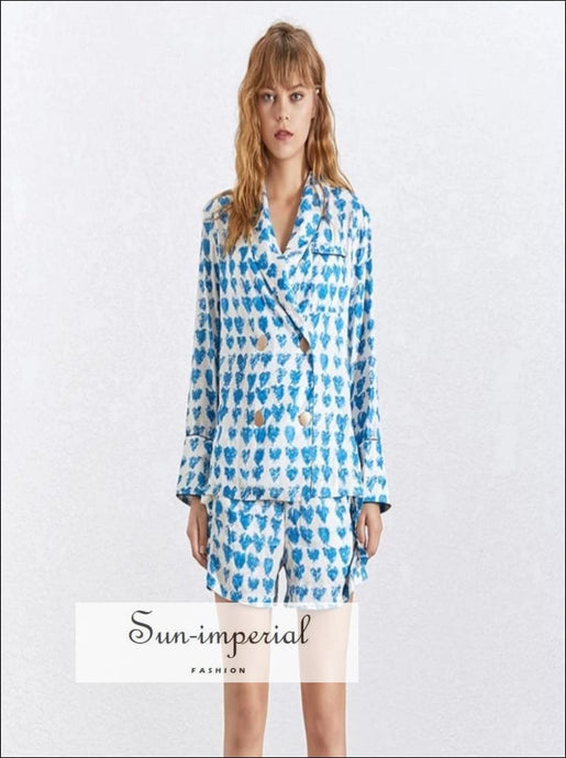 Maldives shorts set - Women Blue hearts Print Blazer Suit Flare Sleeve Coat Shorts Two Piece Set Blue Print Blazer Clothing Shorts Lapel