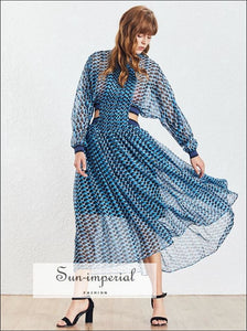 Malibu Dress - Blue Bohemian Style a Line Sheer Cut off Waist Women's Dress Maxi Long Sleeve