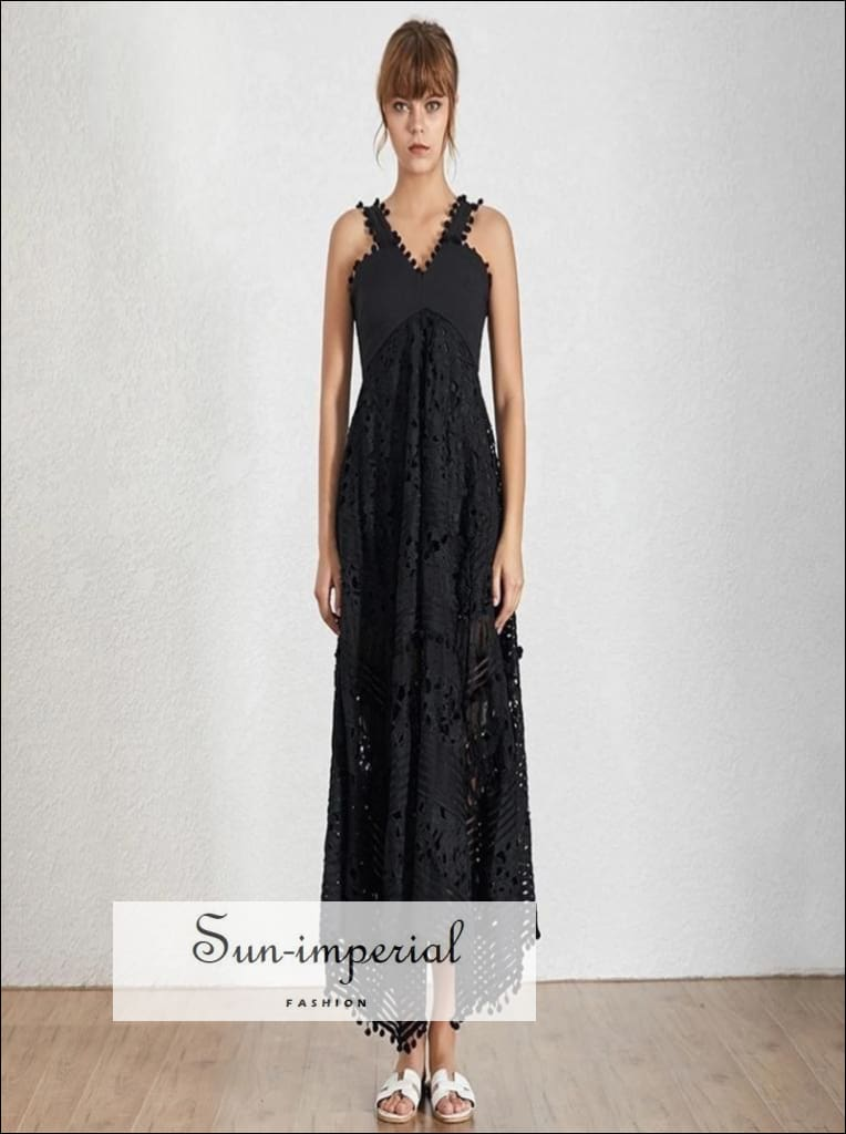 Mallory Dress - Vintage Black Elegant lace Sleeveless sheer asymmetrical maxi Dress V Neck High Waist High Waist Patchwork Sleeveless V Neck