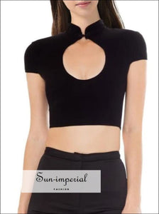 Mandarin Collar Fit Tee with Open Neckline Cut out Cotton Spandex Slim top with Frogging Button