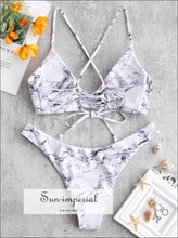 Marble Lace-up Bikini Set SUN-IMPERIAL United States
