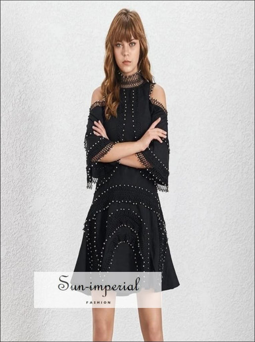 Marina dress - Beading Patchwork Women Dress Off Shoulder Stand Flare Sleeve High Waist Mini Dresses Female Fashion 2019 Summer Beading