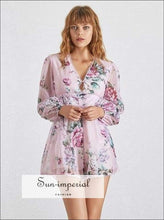 Marley Dress- Floral Print Romper for Women V Neck Lantern Sleeve High Waist Short Jumpsuit Long Sleeve, Slim Shorts, Summer Playsuit, Neck,