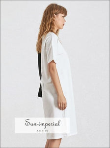 Mary Tonic - Casual Solid Black and White Women T Shirt Asymmetrical O Neck Short Sleeve Oversize Tops, BASIC, Neck, Sleeve, SUN-IMPERIAL