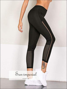 Mesh Breathable Yoga Pants Women Running Fitness Elastic Leggings High Waist plus Size Ladies SUN-IMPERIAL United States