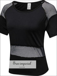 Mesh Transparent Design Fitness Jersey Female Slim Yoga top Comfortable Women's T-shirts Dry Fit Sporty SUN-IMPERIAL United States
