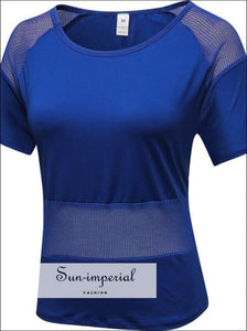 Mesh Transparent Design Fitness Jersey Female Slim Yoga top Comfortable Womens T-shirts Dry fit Top Active wear Sporty SUN-IMPERIAL United