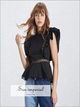 Mia Top- Lace Patchwork Women Blouse Sleeveless O Neck High Waist Ruffles Slim Shirt Female