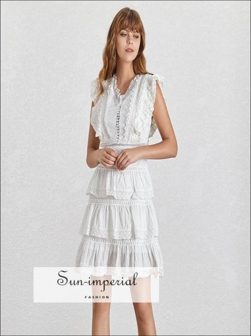 Michaela Dress- Summer Casual Lace Patchwork Womens mini Dress Backless Bow tie A Line Dress Backless Bandage Bow Casual Lace Tank Tops