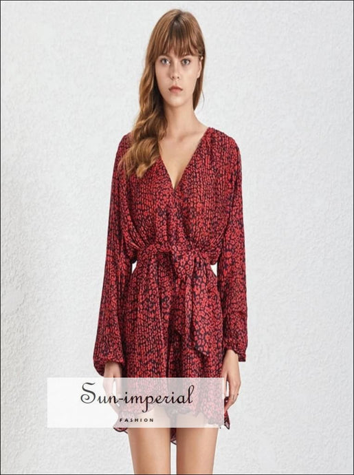 Milwaukee Romper- Woman V Neck Short Jumpsuit Long Flare Sleeve Floral Print Warp High Waist