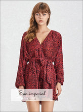 Milwaukee Romper- woman V Neck Short jumpsuit Long flare Sleeve floral Print warp High Waist Jumpsuit High Waist Long Sleeve Summer Womens