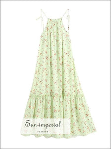 Mint Green Floral Print Tassel Tie Halter Sleeveless Backless Midi Dress with Ruffle detail SUN-IMPERIAL United States