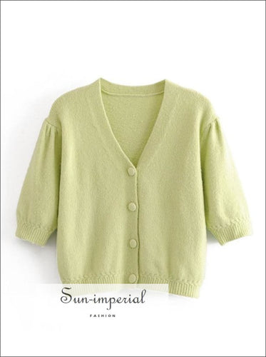 Mint Green Vintage Short Sleeve V Neck Buttoned Knitted Cardigan Sweater