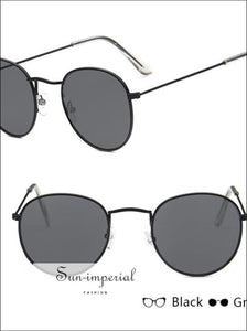 Mirror Metal Sunglasses Women Vintage Flat Round Glasses SUN-IMPERIAL United States