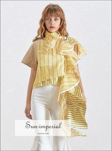 Montpellier top - Ruffles Striped Blouse for Women Stand Collar Short Sleeve Asymmetrical Shirt