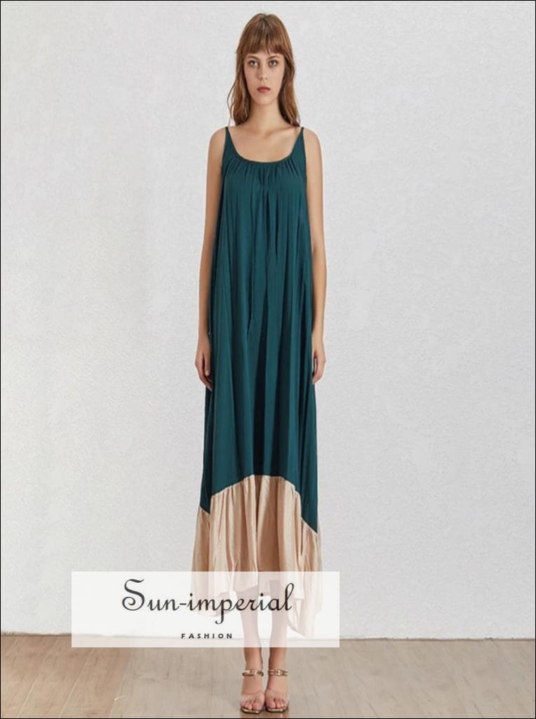 Morgan Dress- Women green with gold ruffle edge Loose slit oversize maxi Dress O Neck Sleeveless Dress Korean Women Dress O Neck Off