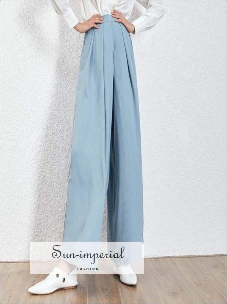 Mulhouse Pants- Elegant Solid Trousers for Women High Waist Ruched Oversize Wide Leg Casual Pants