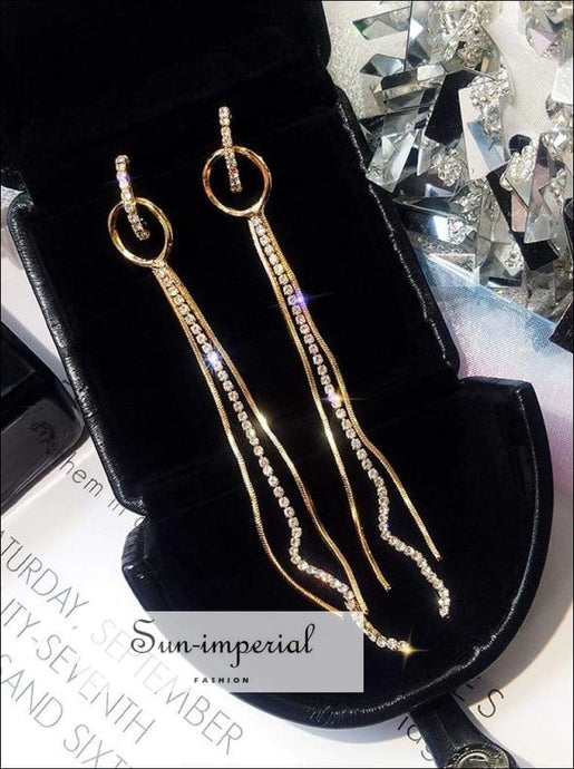 Multi-layer Chain Drop Geometry Long Earrings Women SUN-IMPERIAL United States