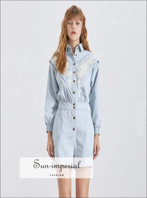 Nancy Romper - Embroidery Playsuit for Women Long Sleeve Jumpsuit Lace Decor High Waist Denim Romper