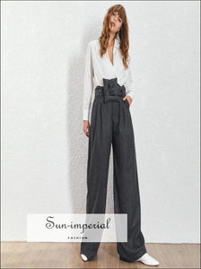 Nanterre Pants - Woolen Women Long High Waist Khaki Wide Leg Trousers for Waist, Trousers, vintage, Leg, SUN-IMPERIAL United States