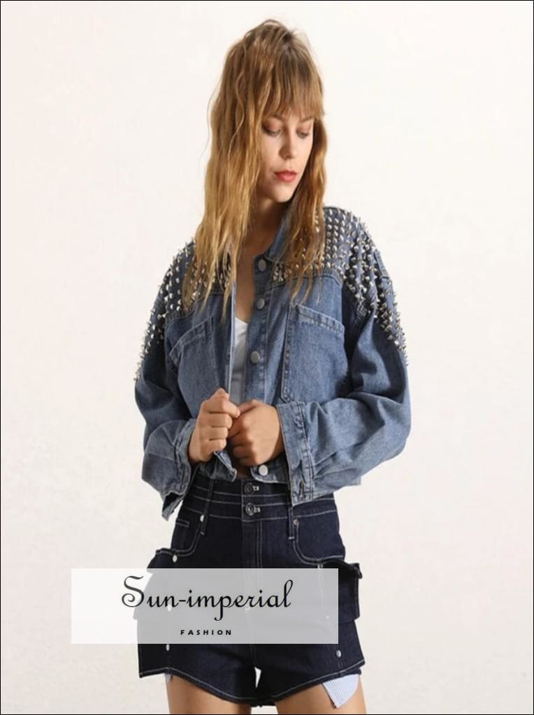 Nantes Denim Jacket - Women Long Sleeve Slim crop Coat Lapel Collar, Sleeve, Rivet Jacket, Short Coat, vintage SUN-IMPERIAL United States