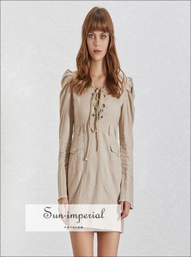 Naomi Dress - Khaki Mini Dress Long Sleeve Tie front V Neck Puff Sleeve Slim Cut Pocket front