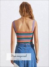 Naomi Tank - Women Rainbow Color Block Striped V Neck Sleeveless Knitted Fashion Clothing, Supender, Sleeveless, Vest, vintage SUN-IMPERIAL