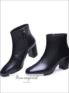 Natural Real Leather Ankle Boots Women Square High Heel Winter Genuine Ladies Short SUN-IMPERIAL United States