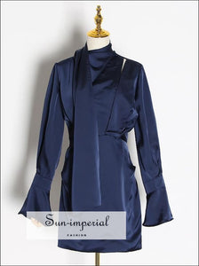 Navy Blue Satin Elegant Dress Flare Long Sleeve Slim High Neck Cut Mini with Scarf detail Dress, elegant style, unique wedding guest dress
