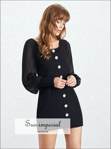 Nayeli Dress- Casual Solid Women Mini Dress Square Collar Lantern Long Sleeve Diamonds Buttons Solid, Sleeve, Patchwork Dresses, Colla,