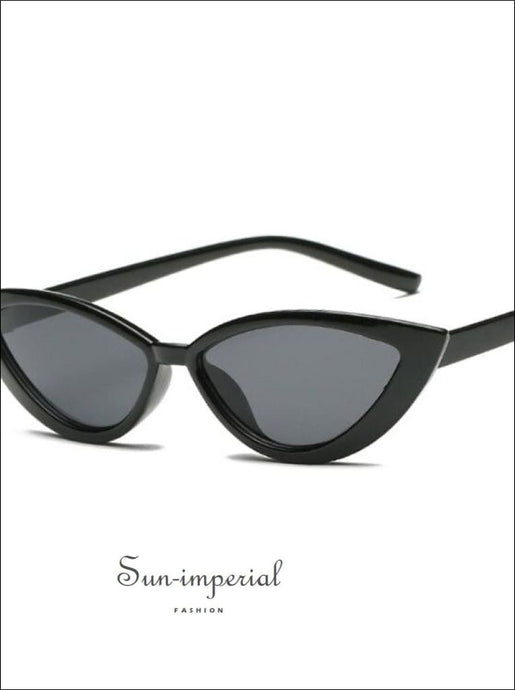 New Vintage Transparent Frame Women Cat Eye Dark Gray Sunglasses SUN-IMPERIAL United States