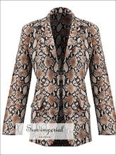 New Women Blazers Long Sleeve Blazer Feminino Snake Skin Print Outerwear Office Work Wear Fall animal print, fall outfit, long sleeve, snake