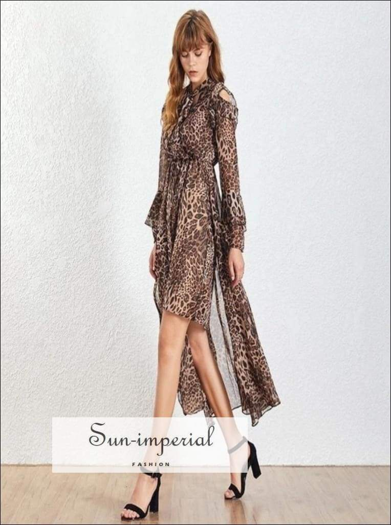Night out Dress - Asymmetrical Leopard Print Lantern Long Sleeve Lace up Midi Ankle Length, Sleeve, Print, Summer Fashion, vintage