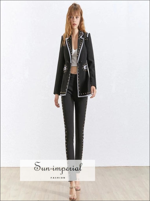Sun-Imperial Nikita Pants Set - Women Two Piece Blazer Set Long Sleeve Blazer High Waist Pants