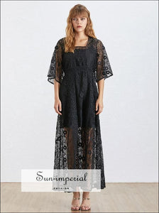 Nîmes Dress - Maxi Lace Vintage Women Square Collar Half Sleeve High Waist black, Sleeve, Waist, Collar, vintage SUN-IMPERIAL United States
