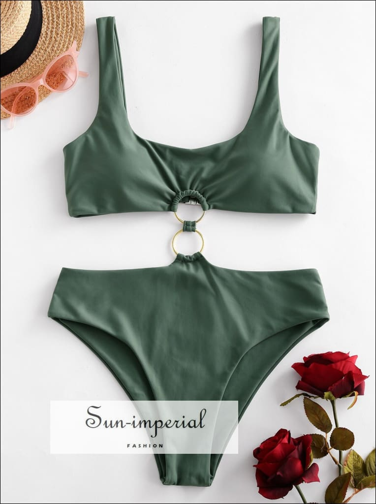 O Ring Scoop Neck Cutout One-piece Swimsuit Bikini Sets SUN-IMPERIAL United States