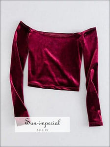 Off Shoulder Velvet T-shirt Woman Slim Fit Crop top Long Sleeve Tee 4 Colors SUN-IMPERIAL United States