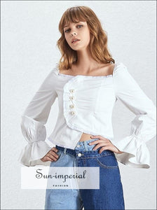Ohio Top - Off Shoulder Women Blouse Square neckline Flare Sleeve Pearl buttons Asymmetric Slim Top Flare Sleeve Off Shoulder Square Collar